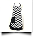 Full Length Chevron Apron Embroidery Blanks - BLACK