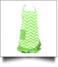 Full Length Chevron Apron Embroidery Blanks - LIME
