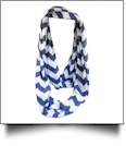 Chevron Jersey Knit Infinity Scarf Embroidery Blanks - NAVY
