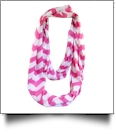 Chevron Jersey Knit Infinity Scarf Embroidery Blanks - HOT PINK