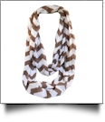 Chevron Jersey Knit Infinity Scarf Embroidery Blanks - COFFEE - CLOSEOUT