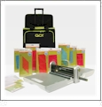 "AccuQuilt GO! Mix & Match 12"" Block Starter Set with Fabric Cutter + Black Rolling Tote"