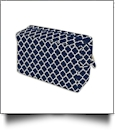 Quatrefoil Cosmetic Bag Embroidery Blanks - NAVY