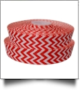 "Chevron Grosgrain Ribbon in Tomato Red - 7/8"" x 1 Yard"