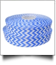 "Chevron Grosgrain Ribbon in Neon Blue - 7/8"" x 1 Yard"