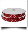 "Dottie Grosgrain Ribbon in Cranberry - 7/8"" x 1 Yard"