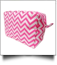 Chevron Cosmetic Bag Embroidery Blanks - HOT PINK