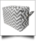 Chevron Cosmetic Bag Embroidery Blanks - GRAY