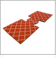 Unsewn 12oz Can Coolie Embroidery Blanks - DEEP ORANGE MOROCCAN QUATREFOIL - CLOSEOUT