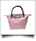 Small Designer-Inspired Foldable Microfiber Travel Bag with Faux Leather Strap & Trim - BLUSH PINK - CLOSEOUT