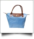 Small Designer-Inspired Foldable Microfiber Travel Bag with Faux Leather Strap & Trim - AZURE BLUE - CLOSEOUT