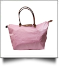 Large Designer-Inspired Foldable Microfiber Travel Bag with Faux Leather Strap & Trim - BLUSH PINK