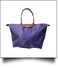 Large Designer-Inspired Foldable Microfiber Travel Bag with Faux Leather Strap & Trim - DEEP PURPLE
