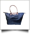 Large Designer-Inspired Foldable Microfiber Travel Bag with Faux Leather Strap & Trim - NAVY