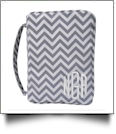 Bible Cover with Zipper Closure - GRAY CHEVRON