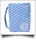 Bible Cover with Zipper Closure - AQUA CHEVRON