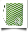 Bible Cover with Zipper Closure - LIME CHEVRON