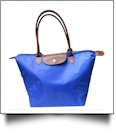 Medium Designer-Inspired Foldable Microfiber Travel Bag with Faux Leather Strap & Trim - ROYAL BLUE - CLOSEOUT