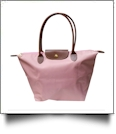 Medium Designer-Inspired Foldable Microfiber Travel Bag with Faux Leather Strap & Trim - BLUSH PINK