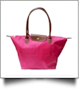 Medium Designer-Inspired Foldable Microfiber Travel Bag with Faux Leather Strap & Trim - FUCHSIA