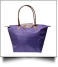 Medium Designer-Inspired Foldable Microfiber Travel Bag with Faux Leather Strap & Trim - DEEP PURPLE
