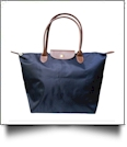 Medium Designer-Inspired Foldable Microfiber Travel Bag with Faux Leather Strap & Trim - NAVY