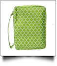 Bible Cover with Zipper Closure - LIME QUATREFOIL