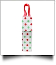 Insulated Wine Bottle Tote w/ Monogrammable Flap - MULTI POLKA DOTS