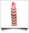 Insulated Wine Bottle Tote w/ Monogrammable Flap - MULTI CHEVRON