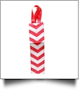 Insulated Wine Bottle Tote w/ Monogrammable Flap - RED CHEVRON
