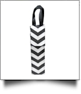 Insulated Wine Bottle Tote w/ Monogrammable Flap - BLACK CHEVRON