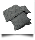 Boot Cuff with Criss-Cross Knit - GRAY - CLOSEOUT