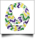 Chevron Jersey Knit Infinity Scarf Embroidery Blanks - MARDI GRAS - CLOSEOUT