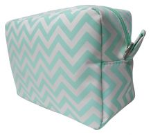Chevron Cosmetic Bag Embroidery Blanks - MINT - CLOSEOUT