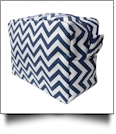 Chevron Cosmetic Bag Embroidery Blanks - NAVY