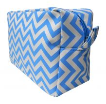 Chevron Cosmetic Bag Embroidery Blanks - AQUA - CLOSEOUT
