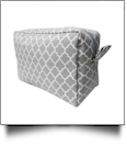 Quatrefoil Cosmetic Bag Embroidery Blanks - GRAY