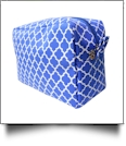 Quatrefoil Cosmetic Bag Embroidery Blanks - ROYAL BLUE