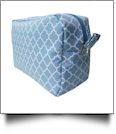 Quatrefoil Cosmetic Bag Embroidery Blanks - POWDER BLUE