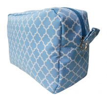 Quatrefoil Cosmetic Bag Embroidery Blanks - POWDER BLUE - CLOSEOUT
