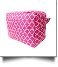Quatrefoil Cosmetic Bag Embroidery Blanks - HOT PINK