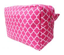 Quatrefoil Cosmetic Bag Embroidery Blanks - HOT PINK - CLOSEOUT
