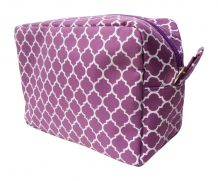 Quatrefoil Cosmetic Bag Embroidery Blanks - PURPLE - CLOSEOUT
