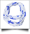 Cross Print Jersey Knit Infinity Scarf Embroidery Blanks - BLUE - CLOSEOUT