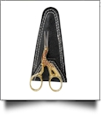 "WunderStitch 3.5"" Gold Handled Fancy Stork Embroidery Scissors with Handmade Leather Case - SPECIAL PURCHASE"