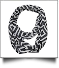 Concentric Squares Print Jersey Knit Infinity Scarf Embroidery Blanks - BLACK