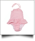 Blank Girls Ruffle Gingham One Piece Swimsuit - PINK