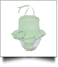 The Coral Palms® Blank Girls Ruffle Gingham One Piece Swimsuit - LIME