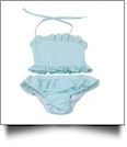 The Coral Palms® Blank Girls Gingham Ruffle Bikini Swimsuit - AQUA