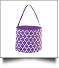 Monogrammable Easter Basket & Halloween Bucket Tote - PURPLE QUATREFOIL